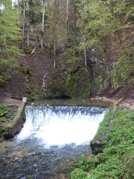 "The karst spring ""Source Bleue"" (blue spring) near Malbuisson in the French Jura"