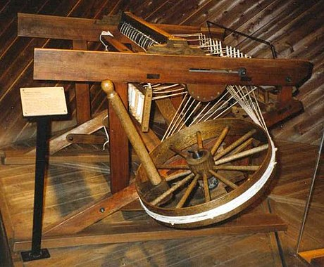 Model of the spinning jenny in a museum in Wuppertal. Invented by James Hargreaves in 1764, the spinning jenny was one of the innovations that started the revolution. Spinning jenny.jpg