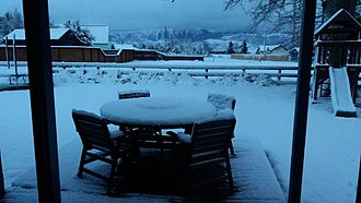 Springfield, New Zealand - Springfield wakes up to several inches of snow