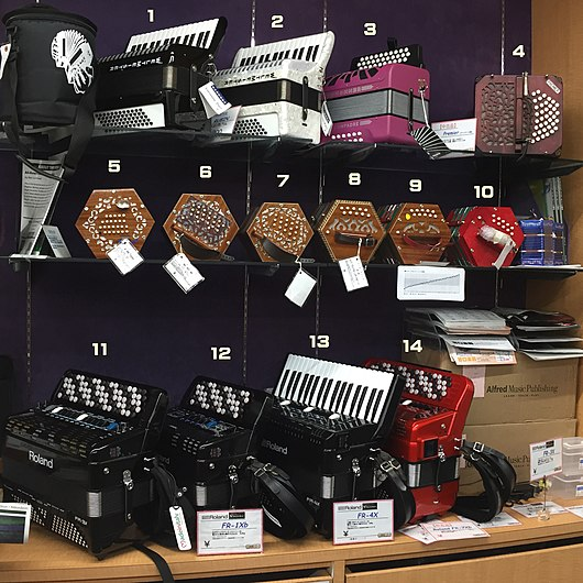 Bellows-Driven Instruments Piano accordions***1,2,13 Diatonic button accordion***3 Chromatic button accordions***11,12,14 Digital accordions(V-Accordions, Roland Corporation)***11,12,13,14 Bandoneon***4 English concertina***5 Anglo-German concertinas(Anglo concertinas)***6,7,8,9,10 Squeeze boxes accordion bandoneon concertina diatonic chromatic.jpg