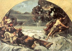 William Tell - Tell's leap (Tellensprung) from the boat of his captors at the Axen cliffs. Study by Ernst Stückelberg (1879) for his fresco at the Tellskapelle.