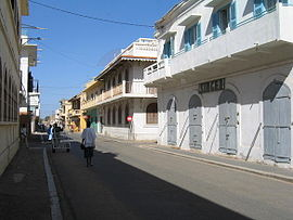 Colonial buildings lining the island of Saint-Louis