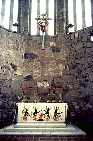 Mescalero - St. Joseph's Catholic Church, Mescalero, New Mexico ca. 1975 Mountain Spirit Dancers painted on altar