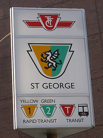 St. George station - An exterior sign on the station featuring Arthur's experimental designs