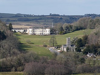 Tawstock - Tawstock Court east front and St Peter's Church, Tawstock, viewed from Codden Hill looking westwards