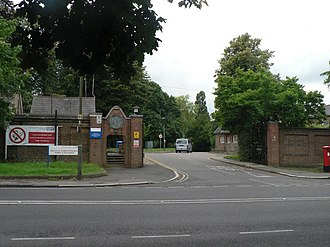 Royal National Orthopaedic Hospital - Main vehicular gateway to the hospital, on Brockley Hill. July 2007