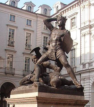 Savoyard crusade - Statue of Amadeus slaying a Turk by Pelagio Palagi, which stands in Turin