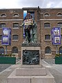 Statue of Robert Milligan, West India Quay on 9 June 2020 - statue covered and with Black Lives Matter sign 02.jpg