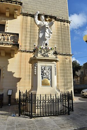 Safi, Malta - Another statue of St. Paul, in Safi, in front of the band club