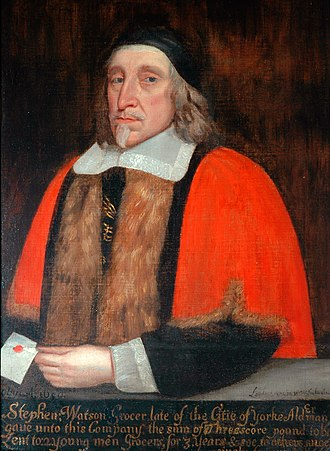 Lord Mayor of York - Stephen Watson was Lord Mayor of York twice, in 1646 and 1656.