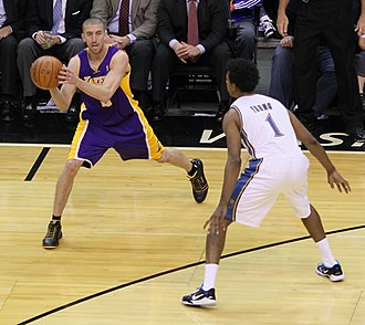 Steve Blake - Blake being guarded by Nick Young of the Washington Wizards