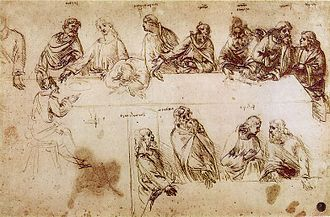 The Last Supper (Leonardo da Vinci) - A study for The Last Supper from Leonardo's notebooks showing nine apostles identified by names written above their heads