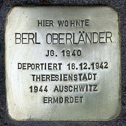 Photo of Berl Oberländer brass plaque