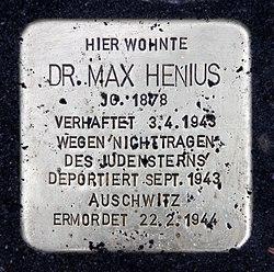 Photo of Max Henius brass plaque