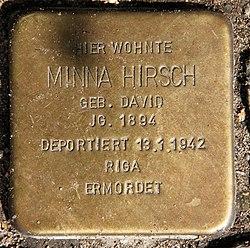 Photo of Minna Hirsch brass plaque