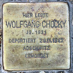 Photo of Wolfgang Chocky brass plaque