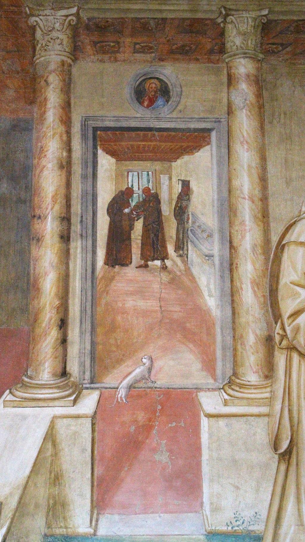 Storie di s. benedetto, 10 sodoma - Come Benedetto spezza col segno della croce uno bicchiere avvelenato 03