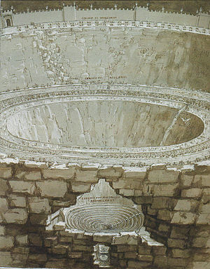 Dis (Divine Comedy) - Lower Hell, inside the walls of Dis, in an illustration by Stradanus. There is a drop from the sixth circle to the three rings of the seventh circle, then again to the ten rings of the eighth circle, and, at the bottom, to the icy ninth circle.