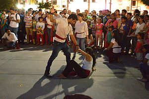 Domestic violence in India - A street theatre performance on domestic violence at the Bridge Market plaza in Chandigarh.