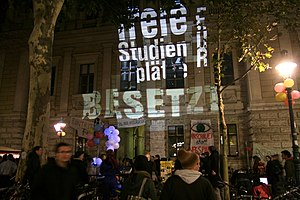 2009 student protests in Austria - Protests and occupation at the University of Vienna, October 2009.