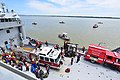 Students of the Hampton Roads Marine Firefighting School prepare to participate in the maritime incident response exercise at Fort Eustis, Va., May 15, 2015 - 150515-F-GX122-118.JPG