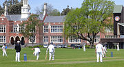 Students playing cricket at Christchurch Boys' High School