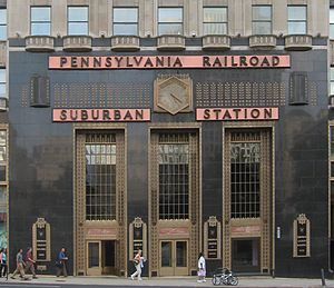 Transportation in Philadelphia - East facade of Suburban Station, one of the three main rail stations of Philadelphia