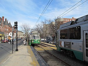 Light rail in North America - Light rail vehicles on Boston's Green Line, the 4th busiest light rail system