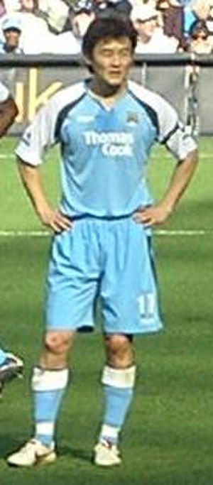 Sun Jihai - Sun playing for Manchester City against Liverpool in April 2007