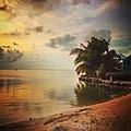 Sunset at Cayo Espanto Private Island Resort.JPG