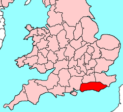Sussex shown within the south of Great Britain
