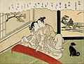 Suzuki Harunobu - Geese descending on the koto bridges ( Kotoji rakugan) - from the set 'Eight fashionable parlour vie... - Google Art Project.jpg