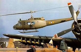 "Pleiku Air Base - Republic of Vietnam Air Force UH-1 ""Huey"" helicopter and A-1 ""Skyraider"""
