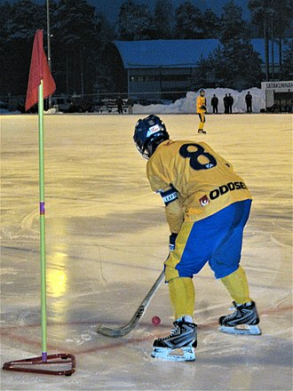 Bandy - Swedish U17 player on a corner stroke