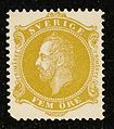 Swedish stamp, Oscar II, 1885, fem öre.jpg