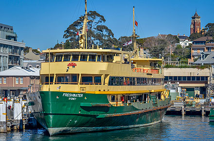 Freshwater at Balmain Shipyard following a collision with Manly Wharf in June 2013 Sydney Ferry Freshwater.jpg