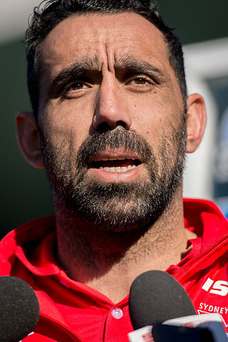 Adam Goodes - Goodes at a Sydney Swans press conference in 2013