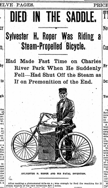 Line drawing of a man standing next to a bicycle with a steam engine