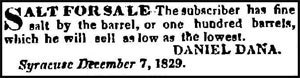 Salt industry in Syracuse, New York - Classified Ad – Onondaga Standard, March 31, 1830
