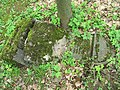 Třebotovský židovský hřbitov, prasklá náhrobní deska.jpg