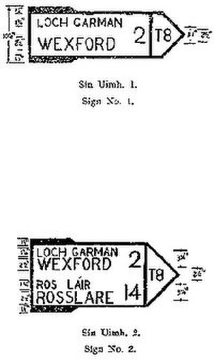 Trunk roads in Ireland - T8 Examples from the Traffic Signs Regulations 1956