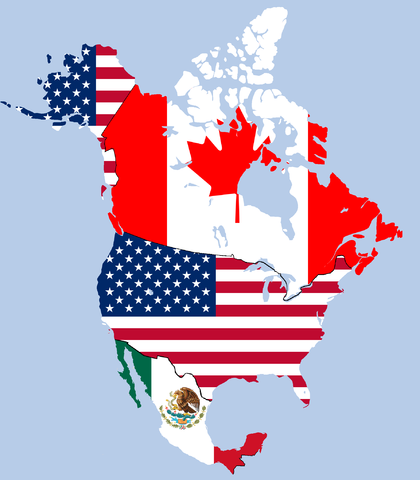 NAFTA map by TheMexicanGentleman [Public domain], from Wikimedia Commons