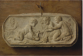 TROMPE L'OEIL OF A TERRACOTTA BAS-RELIEF TACKED TO A WOODEN PANEL .PNG
