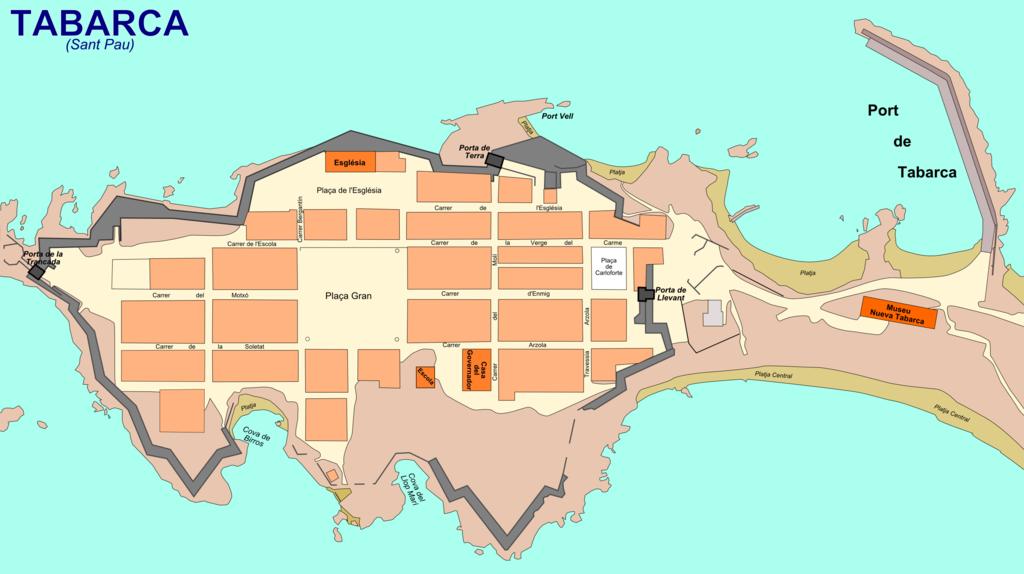 Plano de la isla de Tabarca. Qué ver en la Isla de Tabarca