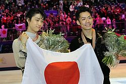 Takahashi and Hanyu at the 2012 World Championships.jpg