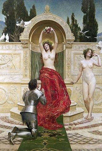 Tannhäuser - In the Venusberg by John Collier, 1901: a gilded setting that is distinctly Italian quattrocento.