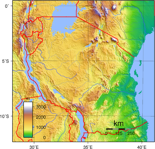 Topographic map of Tanzania By Sadalmelik (Own work) [Public domain], via Wikimedia Commons