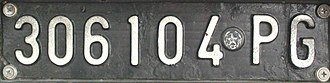 Vehicle registration plates of Italy - 1951-1985 Front number plate, note that the digits are before the provincial code. PG is the provincial code of Perugia