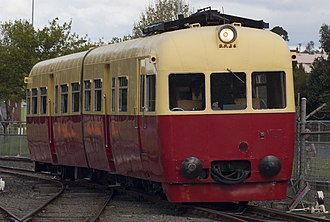 Tasmanian Government Railways - TGR DP class railmotor as used for suburban and rural passenger services, preserved in TGR livery at the Tasmanian Transport Museum.