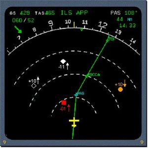 Traffic collision avoidance system - Combined TCAS and EHSI cockpit display (color)